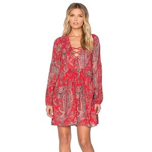 FREE PEOPLE Rain or Shine boho red mini dress